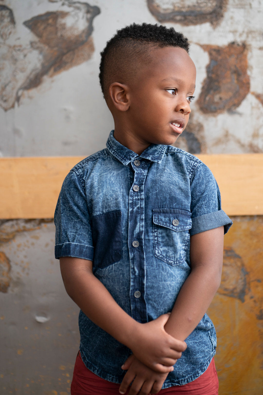 Washed Short Sleeve Denim Shirt - Playground Couture