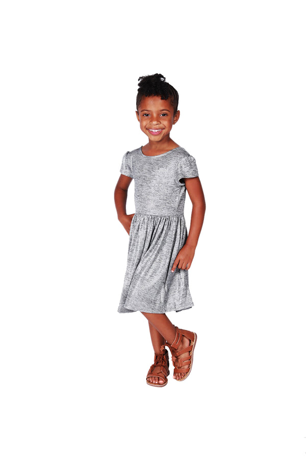Bella Girl's Pewter Dress - Playground Couture