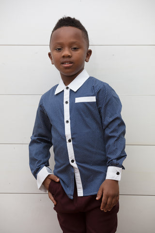 Dotted Boy's Dress Shirt - Playground Couture