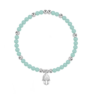 I AM Safe and Lucky Amazonite Stretch Bracelet