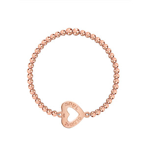 Harmony Heart Charm 4mm Bead Stretch Bracelet - globalsoul