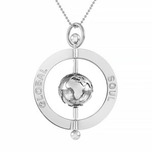 Peace Spinning Globe Pendant 4cm - globalsoul