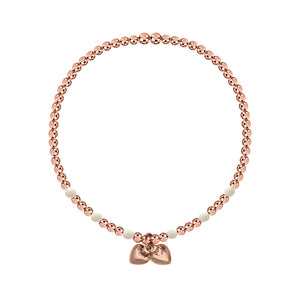 LOVE for ALL Double Heart 3mm Bead Stretch Bracelet - globalsoul