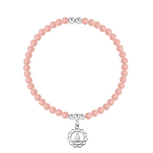 I Feel Peace Within Rose Quartz Stretch Bracelet - globalsoul