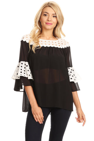 1012-Black & white chiffon top
