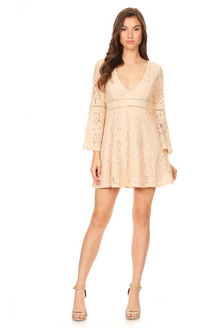 sexy v-neck bell sleeves floral lace dress from Young Essence