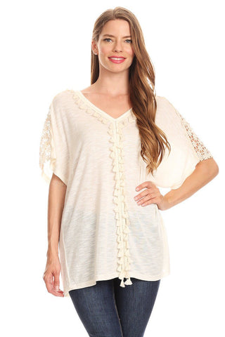 1029-Beige knit top with crochet and tassels - Young Essence, Lace Dresses, Lace Jackets