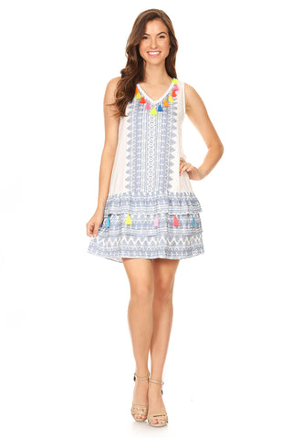 1032-Tribal pattern printed dress with tier & tassels - Young Essence, Lace Dresses, Lace Jackets