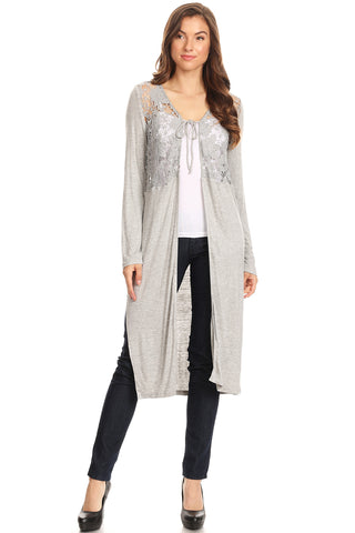 1044-Grey knit jacket with crochet lace - Young Essence, Lace Dresses, Lace Jackets