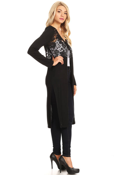 1044-Black knit jacket with crochet lace