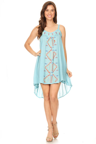 1052-Blue tribal pattern embroidered high low dress - Young Essence, Lace Dresses, Lace Jackets
