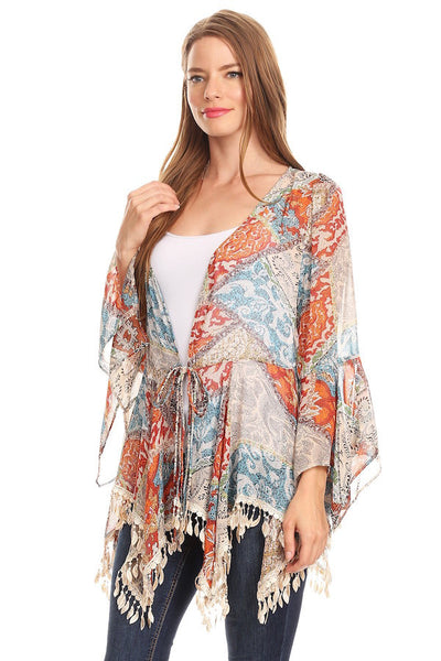 1064-Tapestry pattern chiffon fringed jacket - Young Essence, Lace Dresses, Lace Jackets