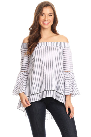 1065-White pinstripe off shoulder top - Young Essence, Lace Dresses, Lace Jackets
