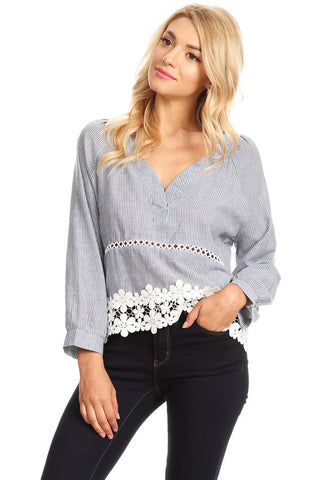1066-Denim pinstripe top with lace trim
