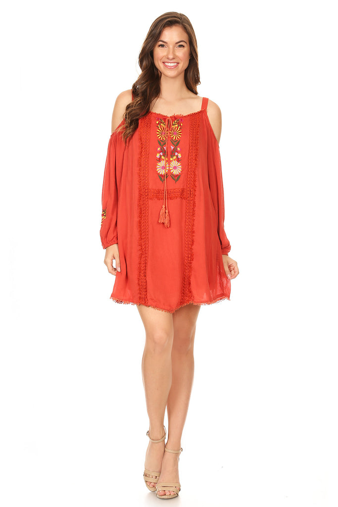 1071-Orange off shoulder embroidery tunic dress - Young Essence, Lace Dresses, Lace Jackets