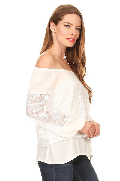 1082-Cream lace peasant top - Young Essence, Lace Dresses, Lace Jackets