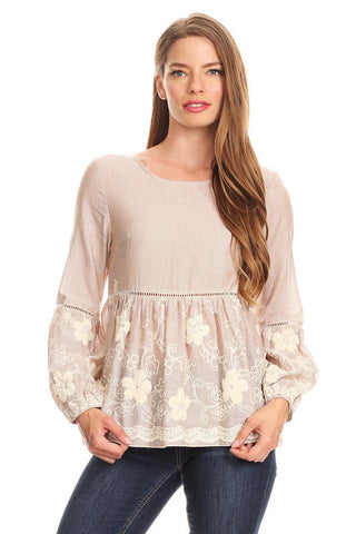 1083-Taupe embroidery top - Young Essence, Lace Dresses, Lace Jackets