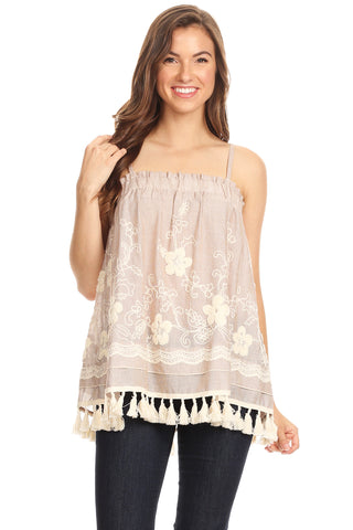 1089-Taupe embroidery cami with tassels - Young Essence, Lace Dresses, Lace Jackets