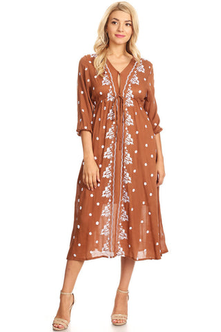 1107-Brown embroidery maxi dress