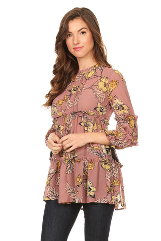 1110-Multi floral ruffle top - Young Essence, Lace Dresses, Lace Jackets
