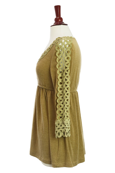 37316-Brown, V-neck knit top - Young Essence, Lace Dresses, Lace Jackets
