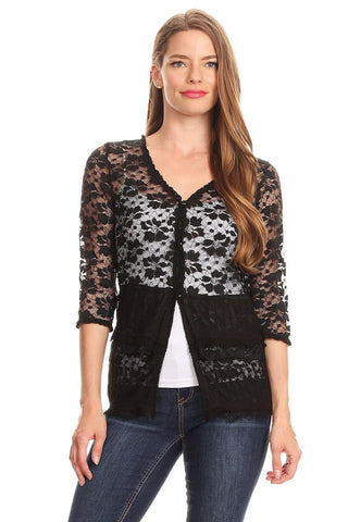37518-Black lace Cardigan - Young Essence, Lace Dresses, Lace Jackets