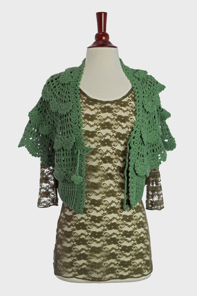 90126-Green, crochet jacket - Young Essence, Lace Dresses, Lace Jackets