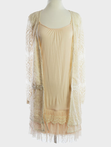 37617-Beige lace cardigan - Young Essence, Lace Dresses, Lace Jackets
