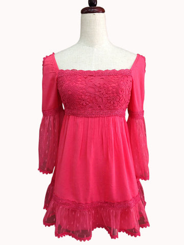37622-Coral, lace & cotton top - Young Essence, Lace Dresses, Lace Jackets