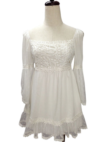 37622-White, lace & cotton top - Young Essence, Lace Dresses, Lace Jackets