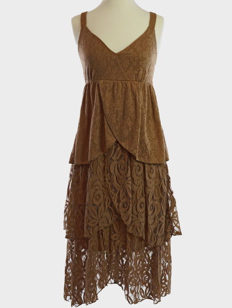 81371-Taupe, knit & lace dress - Young Essence, Lace Dresses, Lace Jackets