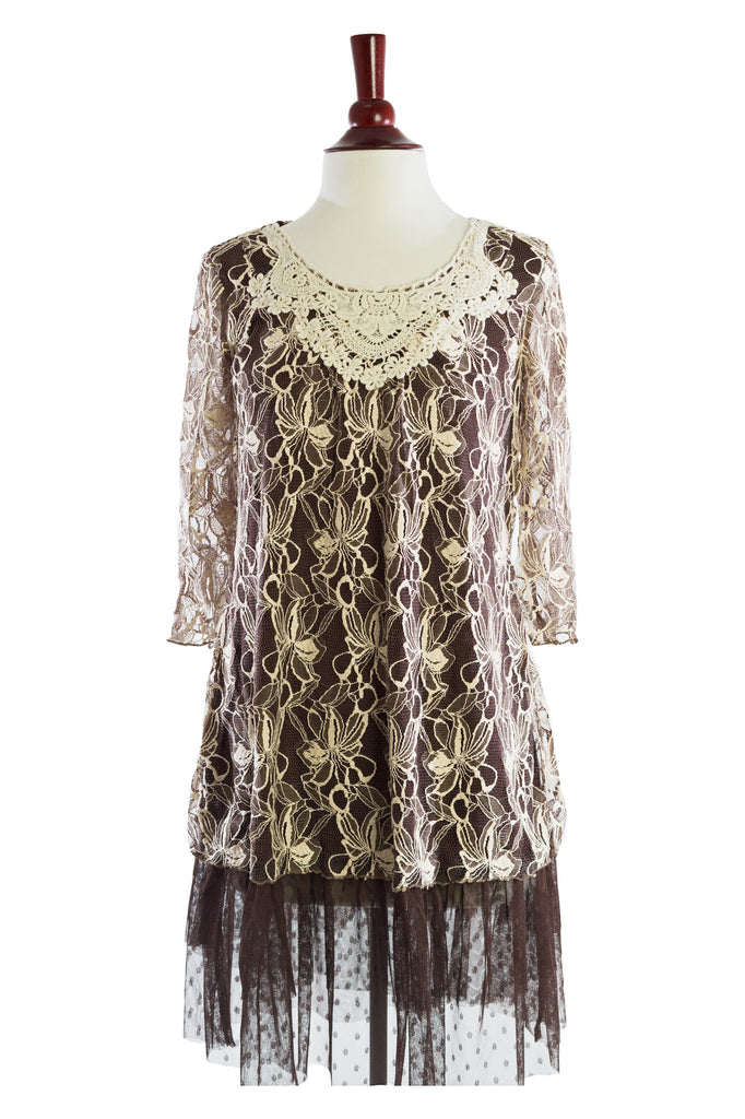 81378-Beige/Brown, lace dress - Young Essence, Lace Dresses, Lace Jackets