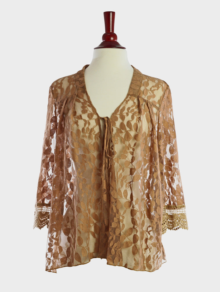 90233-Taupe, lace jacket - Young Essence, Lace Dresses, Lace Jackets