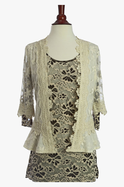 90256-Beige, knit jacket - Young Essence, Lace Dresses, Lace Jackets