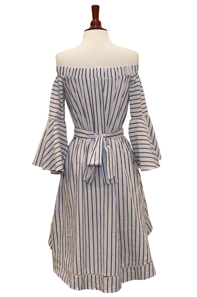 38023-Stripe high low dress - Young Essence, Lace Dresses, Lace Jackets
