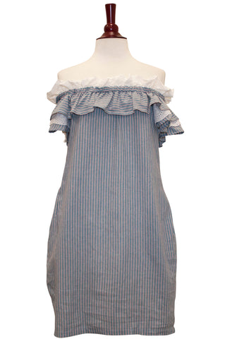 1007-Off shoulder stripe ruffle dress - Young Essence, Lace Dresses, Lace Jackets