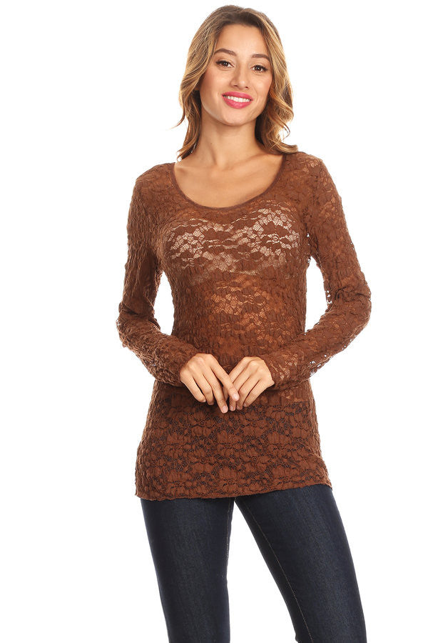 N37577-Brown, sheer lace top