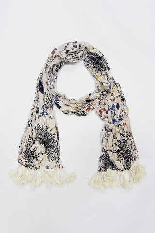 S1093-Beige crinkle floral tassel scarf - Young Essence, Lace Dresses, Lace Jackets
