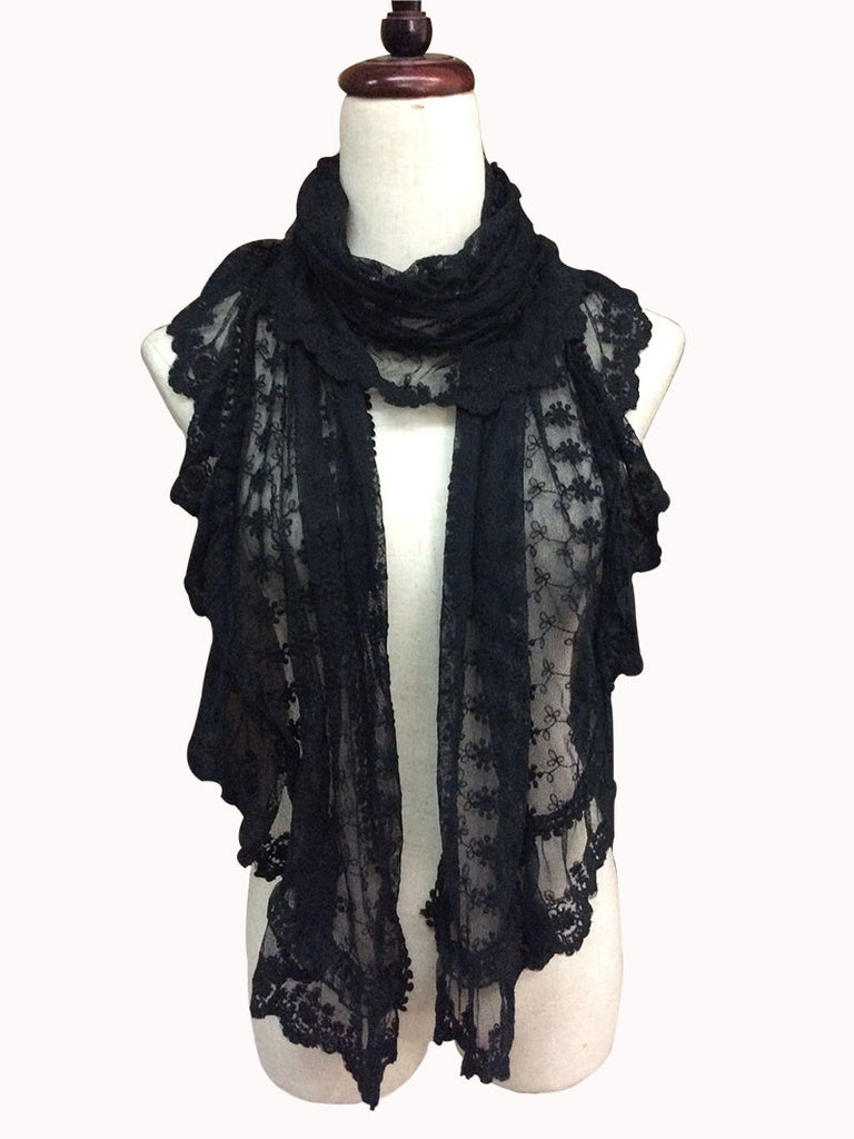S172-Blace lace ruffle scarf