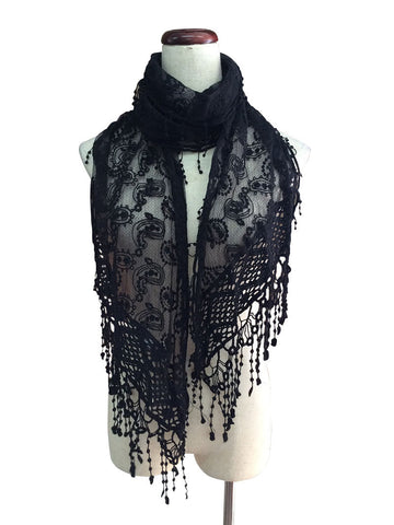 S174-Black lace scarf