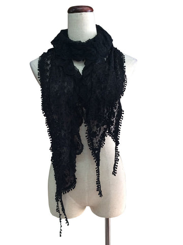 S175-Black lace ruffle scarf