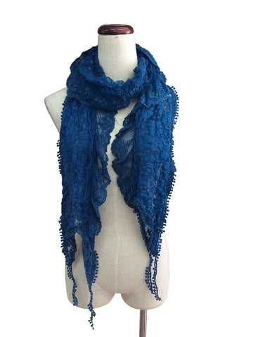 S175-Teal lace ruffle scarf