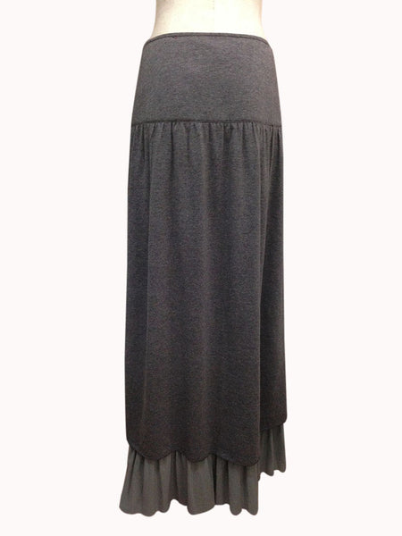 Y121-Brown, knit skirt w/lace sash
