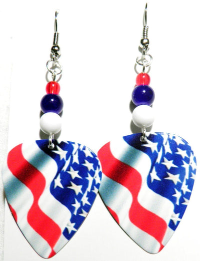 Stars and Stripes Guitar Pick Earrings