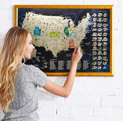 USA Discovery Map Scratch Off Poster