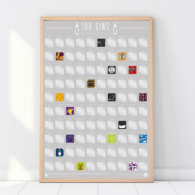 100 Gins To Drink Scratch Off Poster