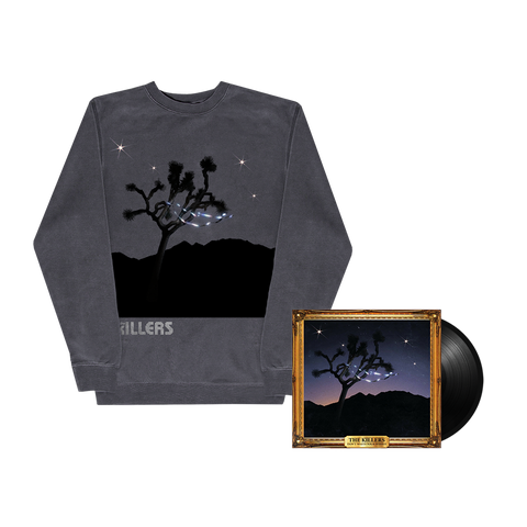 Don't Waste Your Wishes Vinyl + DWYW Pigment Dye Crewneck (Black)