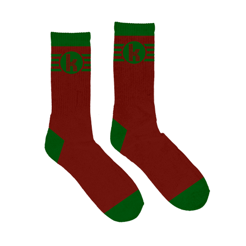 K Logo Striped Socks (Red/Green)