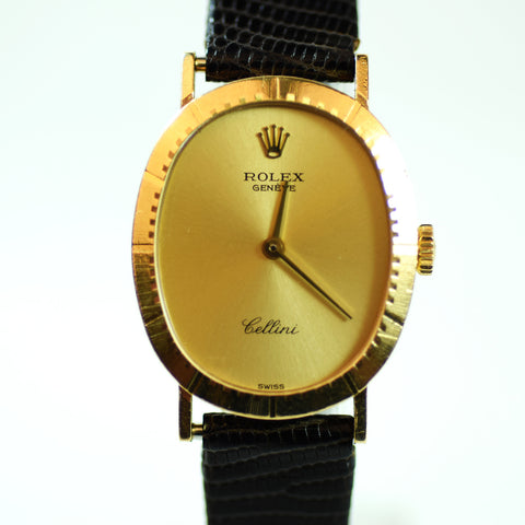 Rolex Geneve Cellini Time 18 Karat Everose Gold Plated Watch, Model 4047