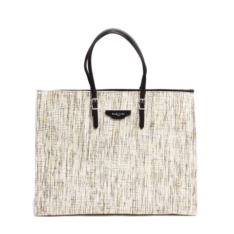 Balenciaga Paper Zip-Around Plate Tweed Tote